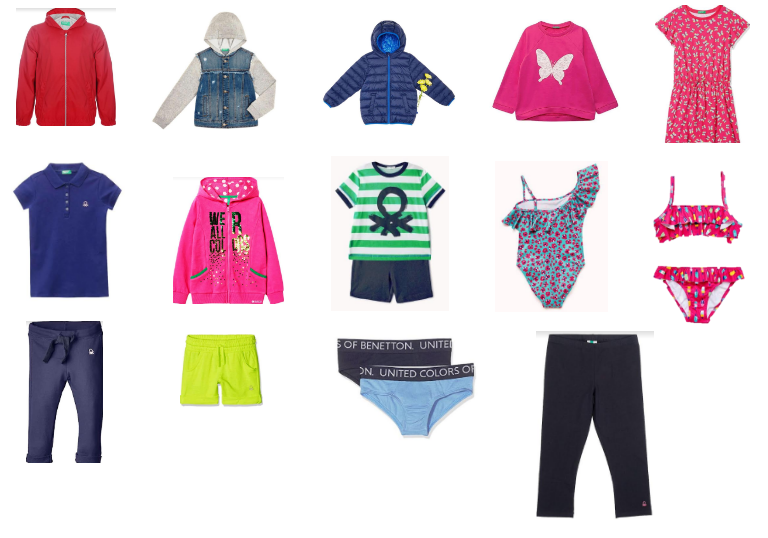 37985 - BENETTON large parcel of Apparel, Footwear & Accessories for Kids in Italy Europe